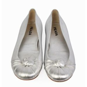 PRADA 6/ 36 Silver Leather Knotted Ballet Flats